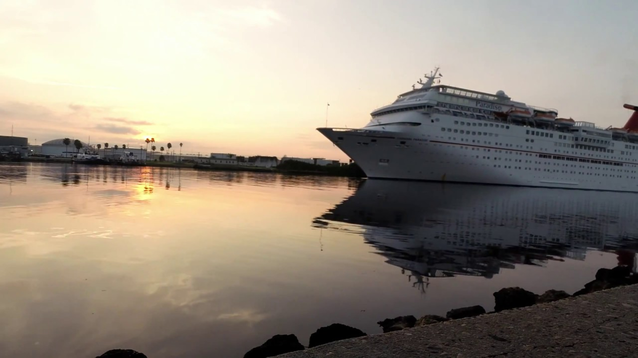 Carnival Cruise Ship Paradise Arriving From Sea In Port Tampa Bay At Sunrise