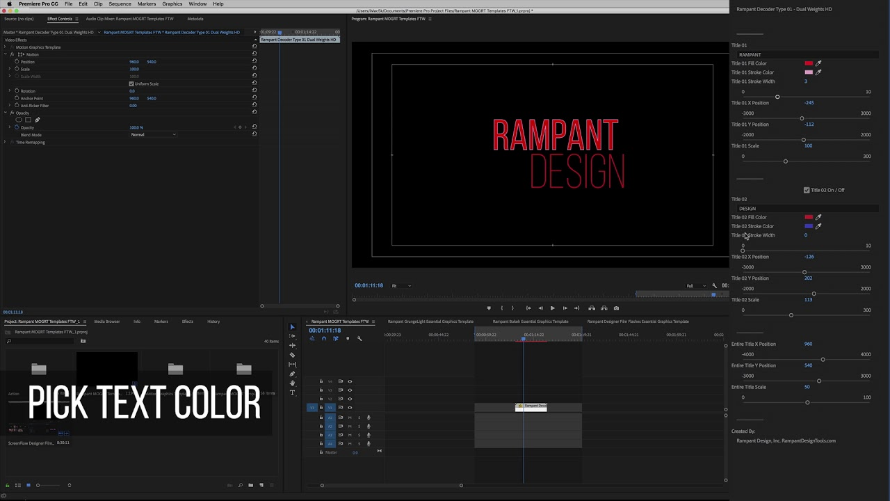Rampant Decoder Type Essential Graphics Template for Adobe Premiere Pro