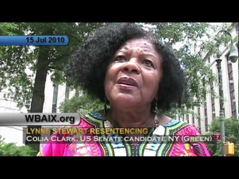 Colia Clark Green Party NY US Senate candidate at Lynne Stewart re-sentencing