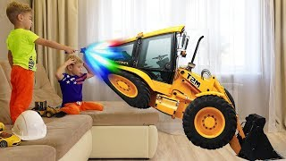 Lev and Gleb playing with Toy Excavator and ride on Big Power wheels Tractor