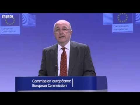 EU commissioner Joaquin Almunia announces Microsoft fine