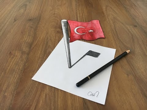 3D TÜRK BAYRAĞI ÇİZİMİ VE 10.YIL MARŞI (3D TURKISH FLAG DRAWING)