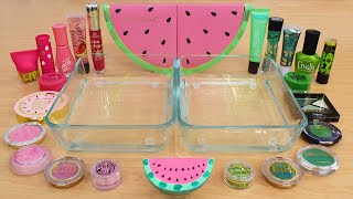 Pink vs Green - Mixing Makeup Eyeshadow Into Slime ASMR 321 Satisfying Slime Video
