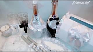 #4Набор на свадьбу, значки, букет, шампанское, бокалы, подушечка, казна, подвязка, бутоньерка, свечи