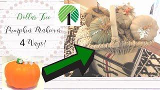 DOLLAR TREE PUMPKIN TRANSFORMATION | 4 STYLES | NEUTRAL FALL DECOR | SHABBY CHIC | PUMPKIN DECOR
