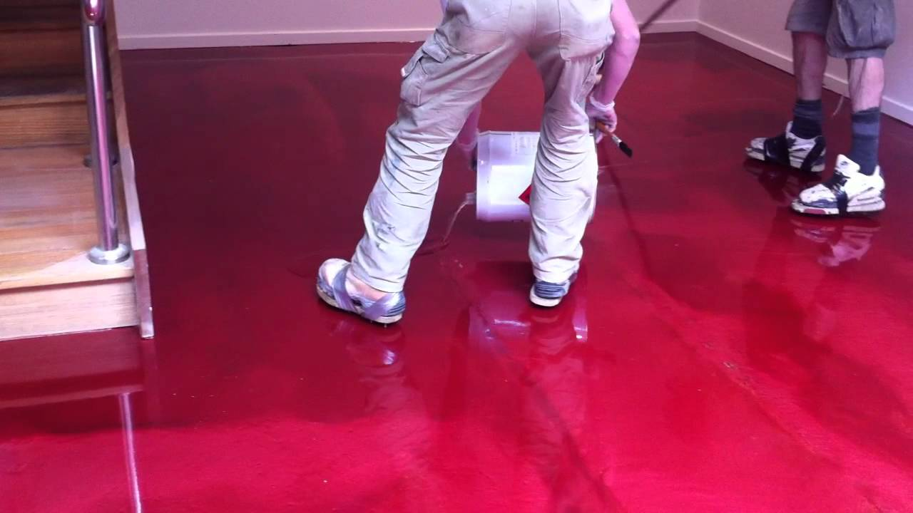 Red Epoxy Flooring Getting Clear Sealer