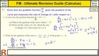 Calculus Gradient functions and rate of change Ultimate revision guide for Further maths GCSE