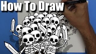 How To Draw a Skeleton Army - Step By Step