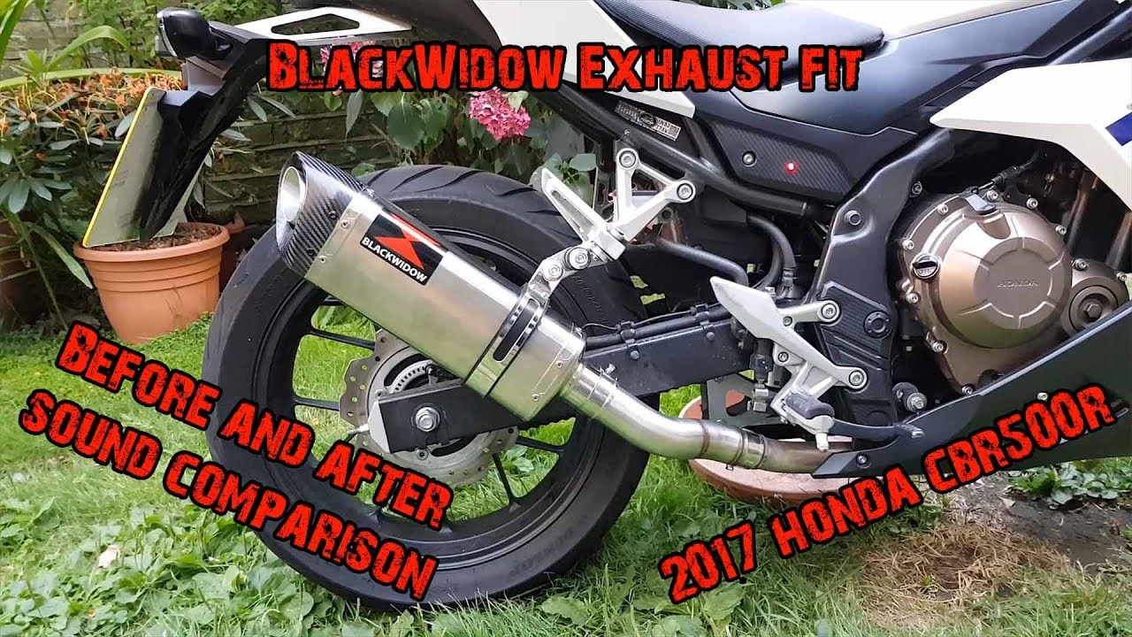 2017 honda cbr500r black widow exhaust before and after