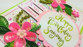 Pink pop up flowers and quilling birthday card