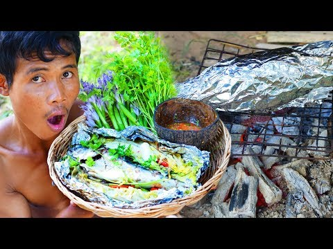 Survival Technique Cooking big fish and eating delicious
