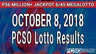 PCSO Lotto Result Today October 8, 2018 (6/55, 6/45, 4D, Swertres, STL & EZ2)
