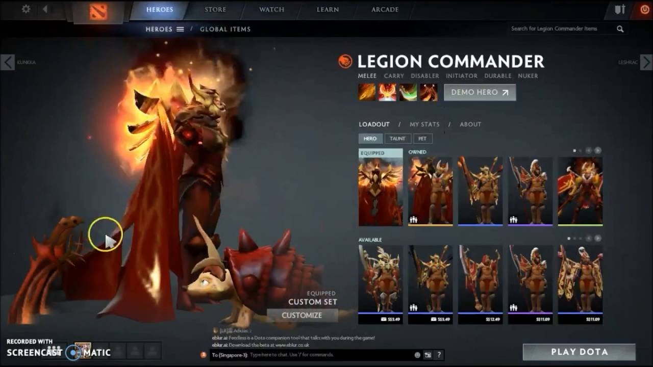 Dota 2 Immortal Items And Player Cards Released: Dota 2 Legion Commander Arcana+Immortal+Daemonfell Set