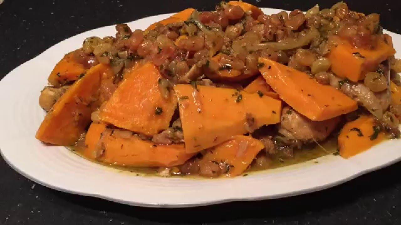 Tajine de poulet la patate douce et raisins secs - Cuisiner de la patate douce ...