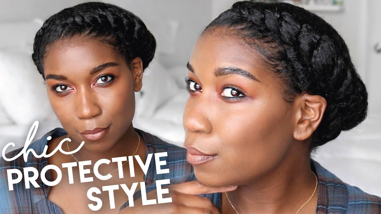 Asymmetrical Twisted Crown Protective Hairstyles Natural