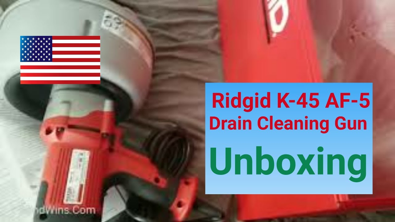 ridgid drain cleaning gun k 45af 5 with autofeed unboxing and first impression [ 1280 x 720 Pixel ]