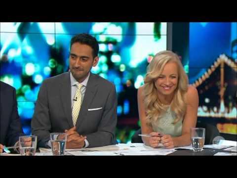 "Russell Brand & Lara Bingle ""The Fake Tan Incident"" LIVE Australian Tv Oct.16, 2015"