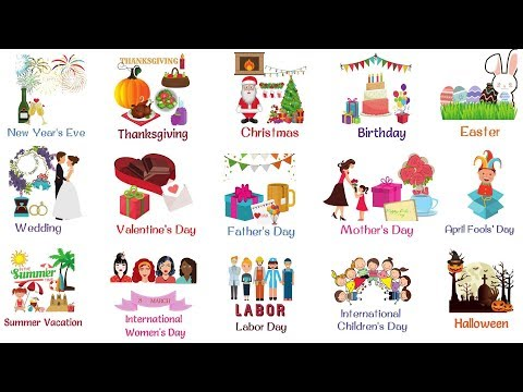 Kids Vocabulary - Holidays and Special Events for Kids | List of Holidays
