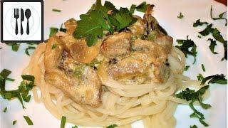 Что приготовить на ужин? Макароны с грибами в сливочном соусе. Быстро и Вкусно.