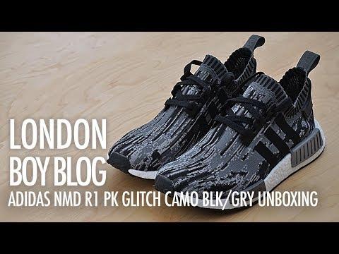 Drástico Margarita accesorios  Adidas NMD R1 PK Glitch Camo Black/Grey Unboxing - YouTube