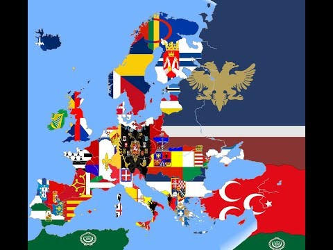 Alternative Present of Europe in Flags (Flag Map) Time-lapse HD