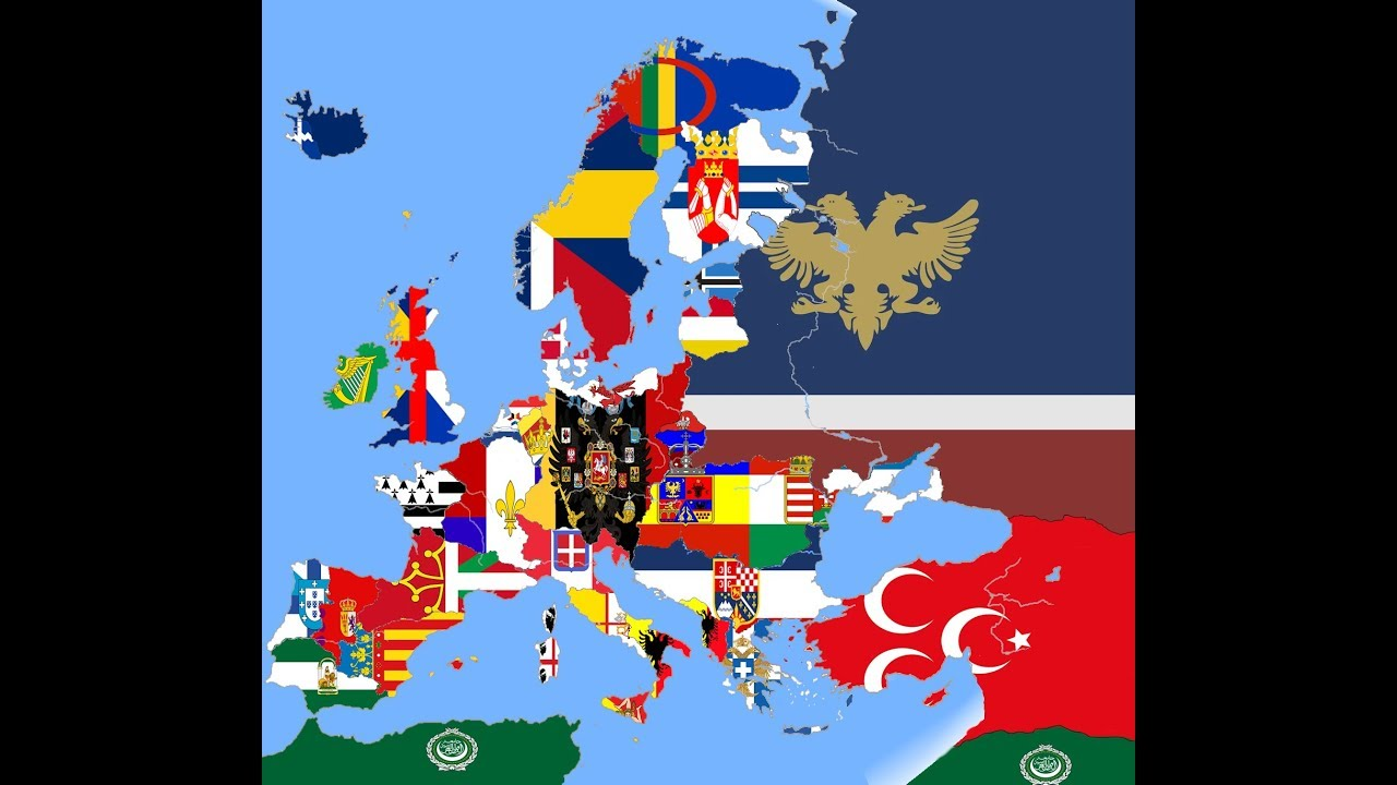 Alternative Map Of Europe.Alternative Present Of Europe In Flags Flag Map Time Lapse Hd