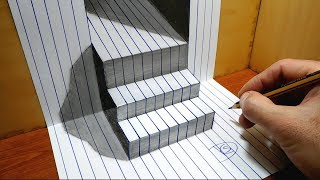 3D Trick Art   Stairs On Line Paper