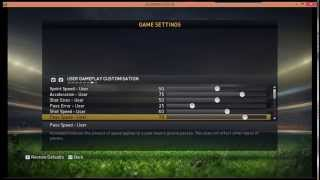 FIFA15 best settings for USER GAMEPLAY CUSTOMIZATION