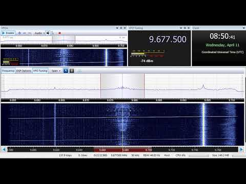 11 04 2018 Ictimai Radio in Azeri to CeAs with FM modulation 0850 on 9677,5 unknown tx site