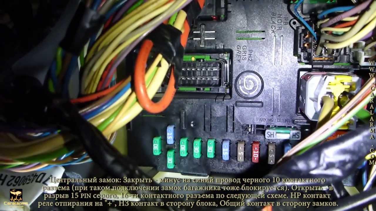 точки подключения сигнализации skoda octavia 2000
