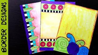 Watercolour   Border designs on paper   border designs   project work designs   borders for projects