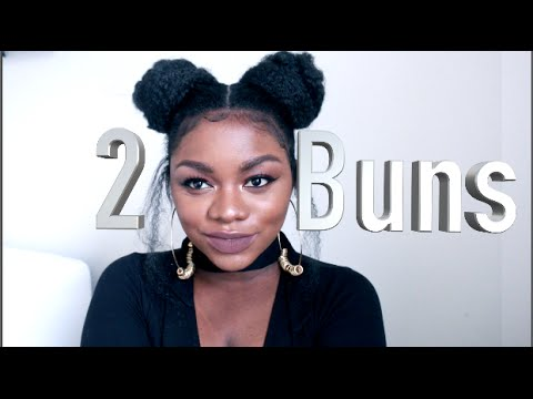 Double bun hairstyle for short hair
