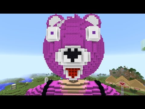 MEGA FORTNITE PINK BEAR TAKES OVER MINECRAFT!!!