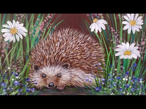 How To Paint A Hedgehog In Wildflowers Live Acrylic