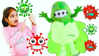 Katy Cutie and pretend play Anti-virus cleaning before eating story for children