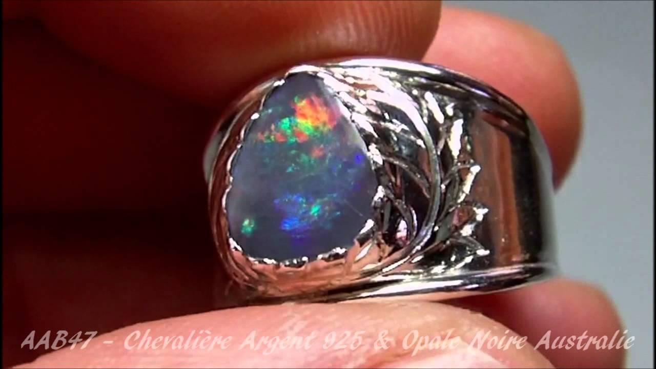bague homme argent opale