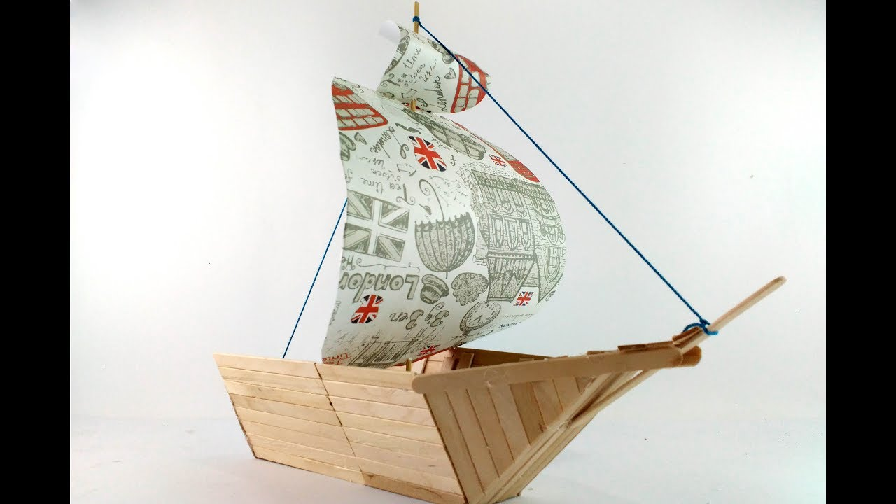 how to make boat using popsicle sticks [ 1280 x 720 Pixel ]