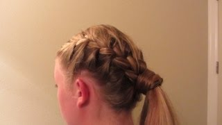 Side French Braid with Wrapped Pony Tail SUPER CUTE Long Blond Hair