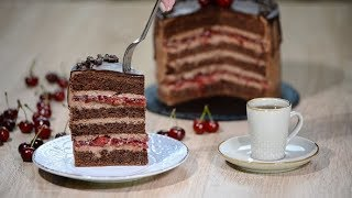 Piece of Cherry Chocolate Cake | Stock Footage