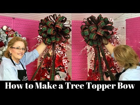 How To Make A Christmas Tree Bow Topper Youtube