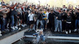 video: Crunchie bars and a dip in the pond: How Watford celebrated their 'phantom' promotion
