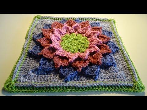 Crochet 3D Flower Square Nr4