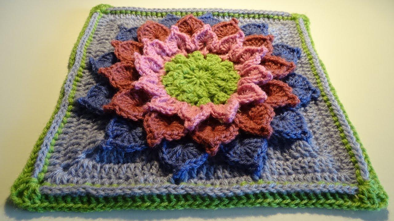 Crochet 3D Flower Square nr4 - YouTube