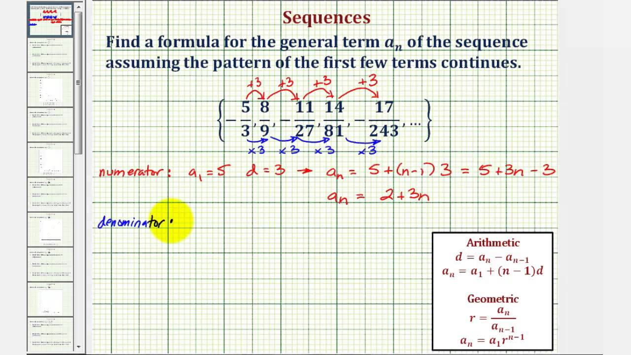 Ex: Find the General Formula For a Sequence in Fraction Form  (Arithmetic/Geometric)