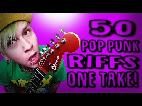 50 Pop Punk Guitar Riffs In One Take! Guitar and Bass