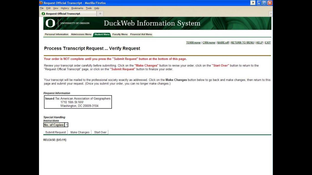 Transcript Requests – Transcript Request Form