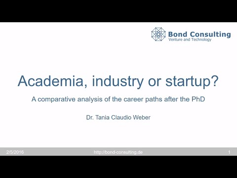 Academia, industry or startup? - Tania Claudio Weber, Bond Consulting - Jobs4Docs