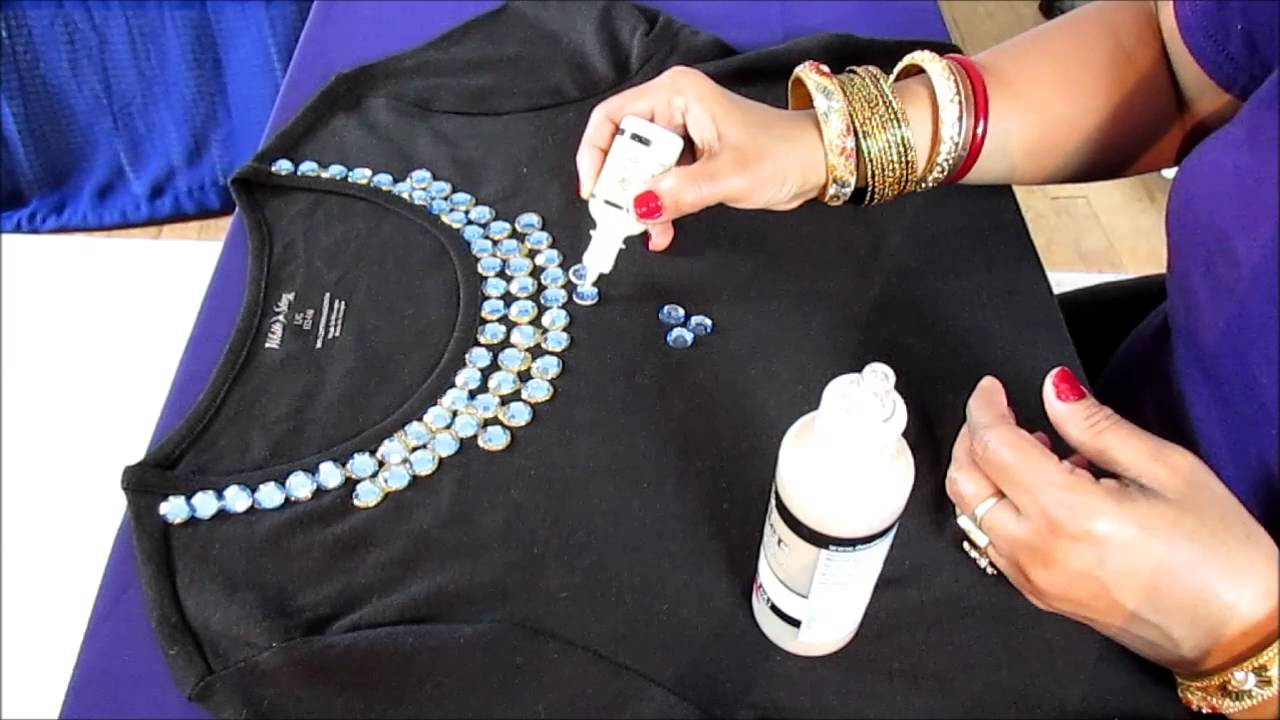 How to create necklace on your t shirt with rhinestones for How to put a picture on a shirt diy