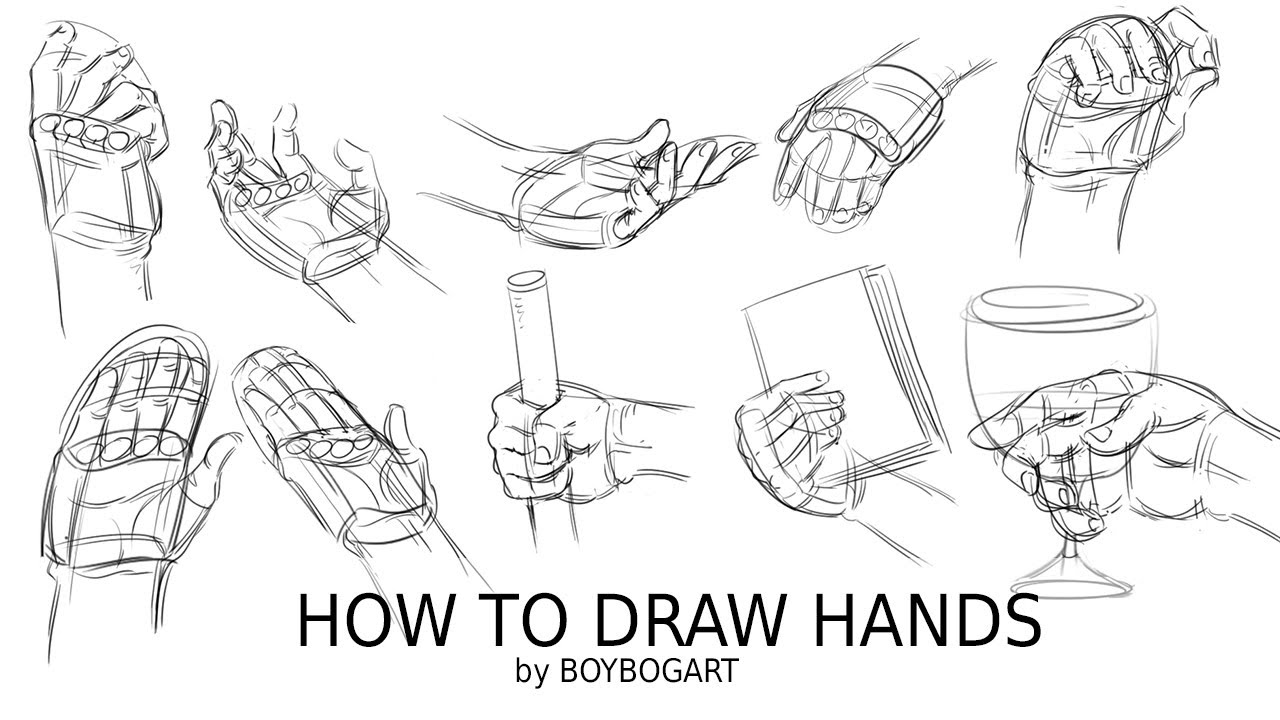 How to draw hands - Step by step tutorial - YouTube