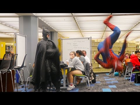 BATMAN AND SPIDERMAN GO TO THE LIBRARY PRANK!! (The University of Texas)